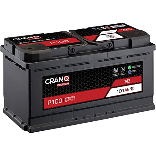 CranQ Autobatterie 100Ah 12V 830A Kaltstartkraft, Starterbatterie Blei-Säure Premium-Serie Ca-Technologie, hohe Startleistung P100 wartungsfrei