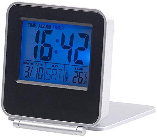 PEARL Reisewecker klappbar: Kompakter Digital-Reisewecker mit Thermometer, Kalender und Timer (Klappwecker)