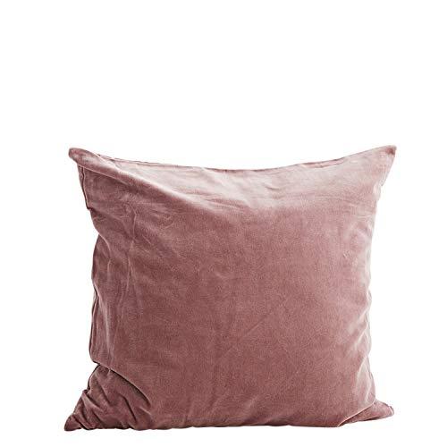Madam Stoltz Kissenbezug Velour in Farbe Pflaume aus Reiner Baumwolle, Maße: 50x50cm