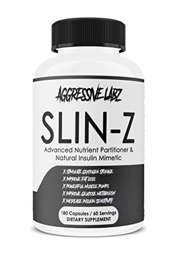 Aggressive Labz SLIN-Z - Glucose Disposal Agent - 180 Capsule Formula - Manage Insulin Levels - Assist with Fat Loss and Lean Muscle Growth