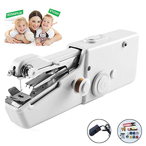 Hand Held Sewing Machine Mini Portable Cordless Sewing Machine Electric Quick Repairing Suitable for for Kids/Beginners to Quick Handy Stitch White Kit