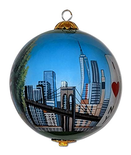 Maui By Design New York City Christmas Ornament Hand Painted from Inside with Decorative Gift Box