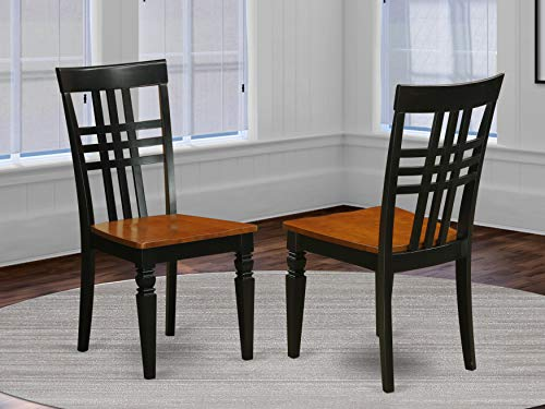 East West Furniture Logan dining chairs set - Wooden Seat and Black Hardwood Frame dining chair set of 2
