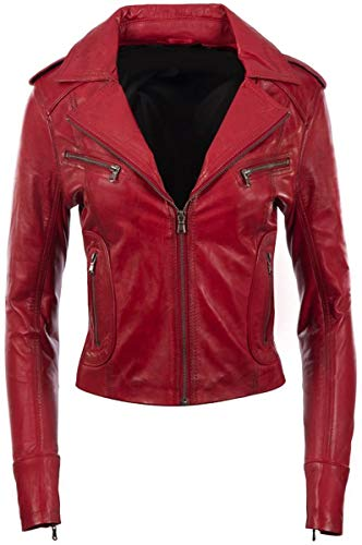 AQ07 Fashion Damen Lederjacke - Super Soft Biker Jacke, echtes Lammleder, rot (m)