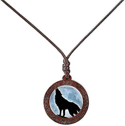 LBBYLFFF Halskette Holzglas Cabochon Halskette Wolf Mond Halskette Modekette Schmuck für Männer Frauen Geschenk Mädchen Jungen Halskette