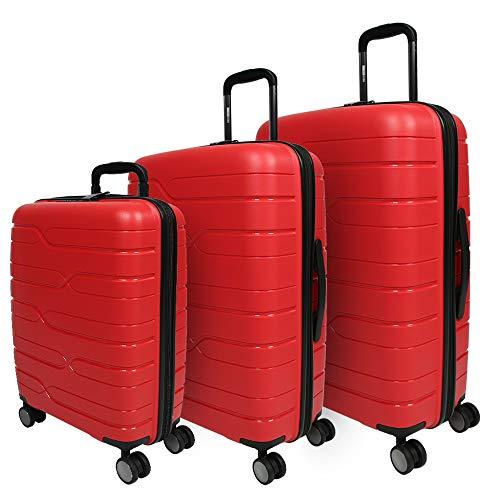 PERLETTI Set 3 Valigie Trolley Extra Resistenti in Polipropilene - Tris Bagaglio a Mano da Stiva da Viaggio Rigido Rosso - Chiusura TSA Incassata e 4 Ruote Doppie - Perletti Travel (Rosso, S+M+L)
