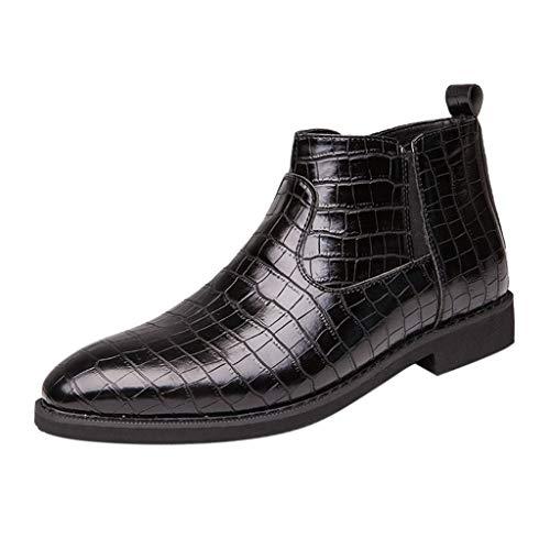 FNKDOR Schuhe Herren Spitz Krokodil-Muster Reißverschluss Lederschuhe Chelsea Lederstiefel High-top Business-Schuhe Jugend Elegant Anzugschuhe Slip-on Berufsschuhe Schwarz 39 EU