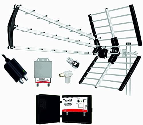 Kit Antena TV TECATEL BKM18 +Filtro 5G + Amplificador de mástil 30 dB + Fuente alimentación 24V