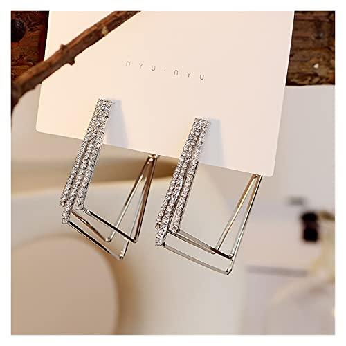 Houren Pendientes geométricos de Zircon de Metal Multicapa Simple Hembra Moda joyería de Temperamento joyería Decorativos (Metal Color : Silver Square)