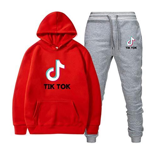 Tik Tok Hoodie, Unisex Hooded Sweatshirt Tik-Tok Damen T-Shirt Pullover Jogging Hoodies Sweatshirt Trainingsanzüge rot XL
