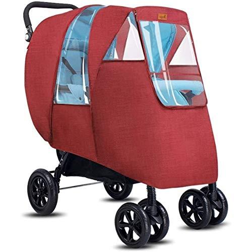ZT Doble cochecito de bebé cubierta de la lluvia, el carro de bebé cubierta de la lluvia a prueba de agua, a prueba de viento de protección de viaje del medio ambiente, uso al aire libre Fácil de inst