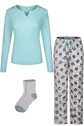 SofiePJ Women's Blend Cotton Top Plush Soft Fleece Pants with Sock Pajama Gift Set Aqua Gray L