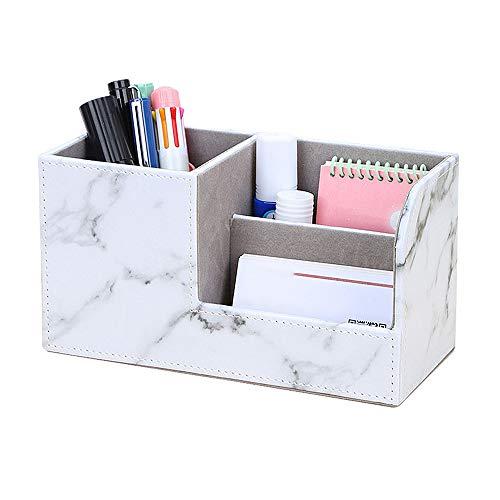 IWILCS Büro Schreibtisch Organizer, PU Leder Stiftebox Stifteköcher, Büro Schreibtisch Organizer Stiftehalter, Tisch Organizer,für Visitenkarten, Stifte, Handy Weisser Marble Pattern