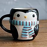 YXYLQ Cartoon Pinguino Disegnato A Mano Tazza in Ceramica Creativa Tazza di caffè Carino con Impugnatura Tazze di Succo di Latte per La Casa per Bambini Tazze daColazione-Penguin_201-300 Ml