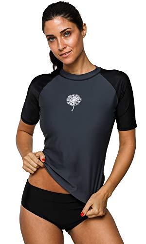 ATTRACO Women UV Swim Shirt Sun Protection Short Sleeve Rash Guard Swimsuit Top Gray - Black