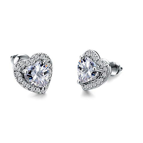 HUYV Stud Earrings For Woman,Fashion White Crystal Heart-Shaped Inlaid Zircon Earrings 925 Silver Stud Earrings For Christmas Birthday Jewelry Gift Men Girls