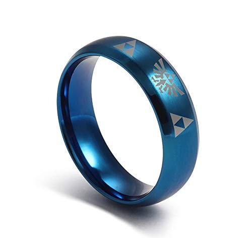 HAMANY Anillo Trifuerza The Legend of Zelda de Acero Inoxidable Azul para Mujer de 6 mm, para Hombres