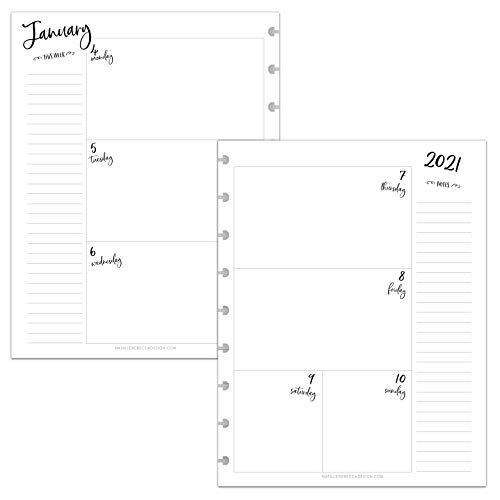BetterNote 2021 HORIZONTAL Weekly and Monthly Calendar for Disc-Bound Planners, Fits 9-Disc Happy Planner, InkWell Press, 7'x9.25' Whimsy (Notebook Not Included)