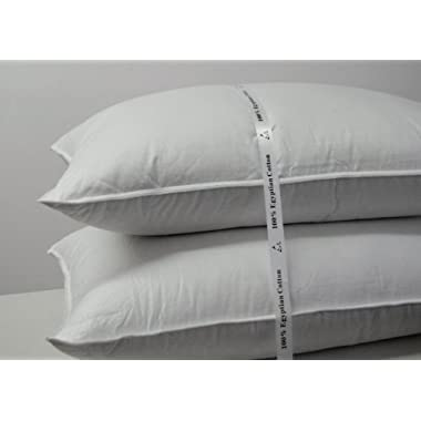Luxury Down Pillow - 500 Thread Count Cotton , Standard Size, Firm, Set of 2