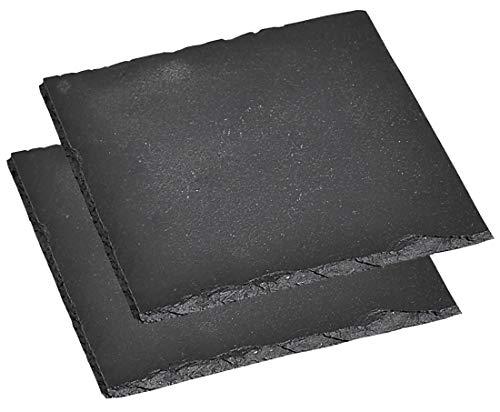 Kesper Servierplatte, 2er Pack, Schieferplatte, Buffet-Platte, aus Schiefer, geölt, Maße: 200 x 200 mm, schwarz