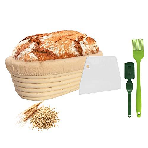 NUTRIUPS Cuenco para Masas, Banetton para Pan, Cuenco de para Masa de Pan, Banneton Brotform, Banetones para Pan, Cesta de Pruebas para Pan, Canasta de Pan de Banneton Ovalada de 25 cm