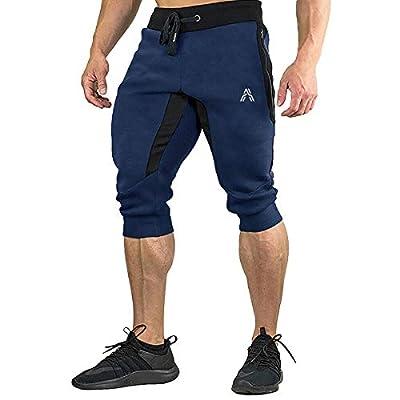 A WATERWANG Men's 3/4 Jogger Pants, Capri Below Knee Shorts, Slim Fit Training Workout Gym with Zipper Pockets Navy