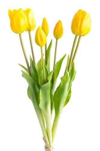 Nova-Nature künstliches Tulpenbündel mit 4 Tulpen und 3 Tulpenknospen real Touch (gelb)