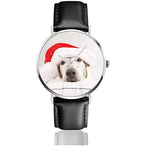 Perro con Gorro de Papá Noel Mujeres Hombres Reloj de Moda Correa...