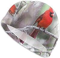 """スイムキャップ美しい赤い枢機卿鳥スイミングキャップ女性男性用帽子大人のスパンデックス入浴キャップロングショートヘアレディーススイムハットスイミングアクセサリーウォータースポーツ-design1-11""""-13""""x7"""""""