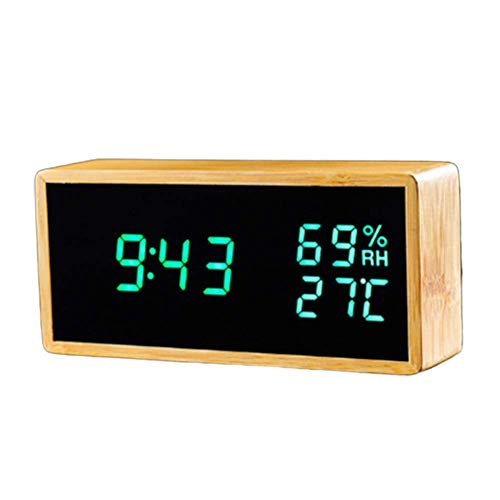 zvcv Wall Clocks, Room Hygrometer Temperature,Wireless Temperature Humidity Monitor Atomic Clock with Bamboo Material Creative Decoration Best Gift
