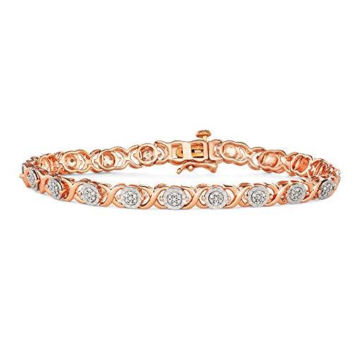 1/4 Carat Diamond, Prong-Set Rose Gold Rhodium Over Sterling Silver Miracle Plate Cross link Diamond Bracelet (Diamond Quality IJ-I3) By La4ve | Real Diamond Bracelet For Women | Gift Box Included