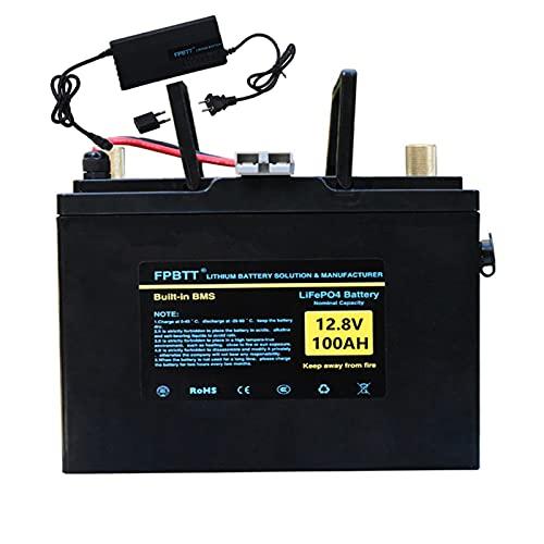 12.8v 100AH ??LiFePO4 batería 12v lifepo4 batería de litio 100ah LiFePO4 batería de fosfato de hierro con cargador de 10A