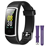 YAMAY Fitness Tracker with Blood Pressure Monitor Heart Rate Monitor,IP68 Waterproof Activity Tracker 14 Mode Smart Watch with Step Counter Sleep Tracker,Fitness Watch for Women Men (V_Purple+Black)