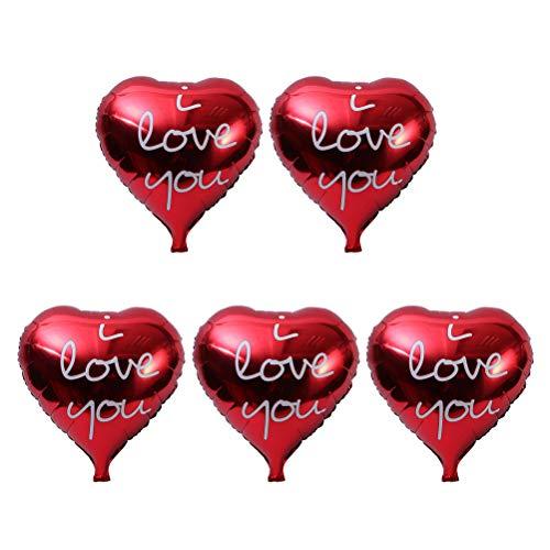 BESTOYARD Globo de Aluminio en Forma de Corazón con Letra de I Love You Decoraciones de Fiesta de Boda 5 Piezas (Rojo)