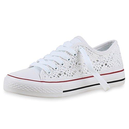 SCARPE VITA Damen Sneakers Stoffschuhe Spitze Sportschuhe Freizeit Schuhe 160415 Weiss White Total 39
