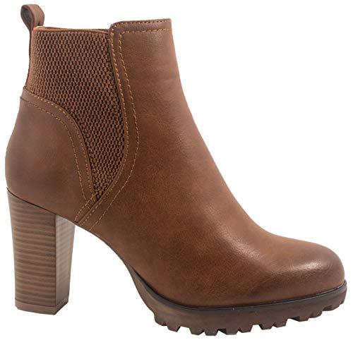 Elara Damen Stiefeletten Ankle Boots Chunkyrayan BZ66019-KB Camel-40