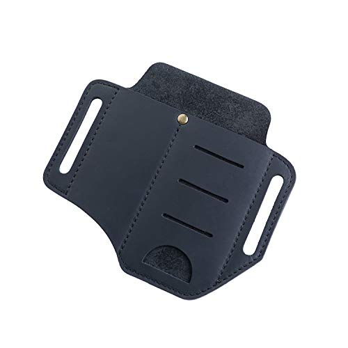 VIPERADE EDC Leather Sheath for Knife/Flashlight/Tactical pen/Tools and EDC Gear, Handmade Pocket EDC Organizer Leather Sheath, 2 pockets Belt Sheath (Black)