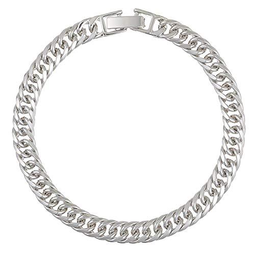 AT Jewellery - Pulsera de eslabones lisos unisex con relleno de oro blanco de 9 quilates