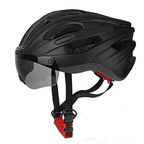 Fahrradhelm YDHWWSH Winddichte Fahrrad Helm Sicherheit Reiten Caps Atmungsaktive Mountain Road MTB Bike Helme Mit Brille Abnehmbare Linse 56-62cm BMUL