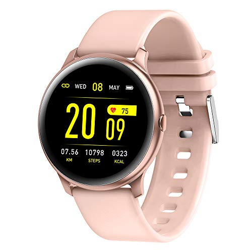 Fitness Tracker Watch with Heart Rate Blood Oxygen Monitor Pedometer,Step Calorie Sleep Monitor Music Control,Waterproof Activity Tracker with Sleep Monitor (Pink)