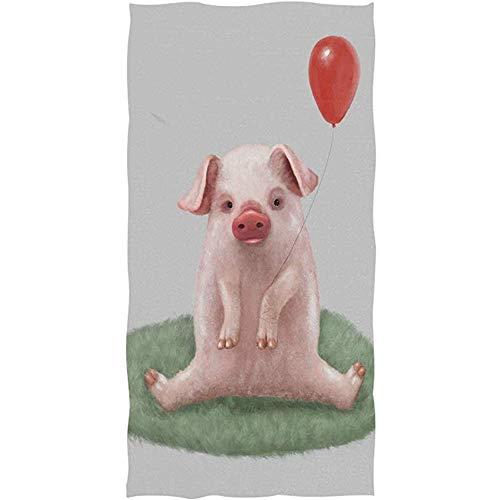 La.R Handdoek, varken, met wereldbol, zeer zacht, voor de badkamer, 30 x 70 cm