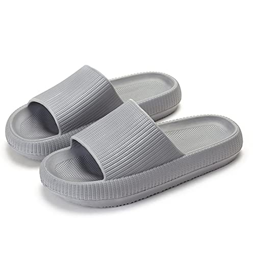 ZHUZC Pillow Slides Women Men Quick-Drying Bathroom Sandals Super Soft House Slippers Thickened Soles, Indoor and Outdoor Sports Outdoor Slippers (3.5/4 UK,Gray)