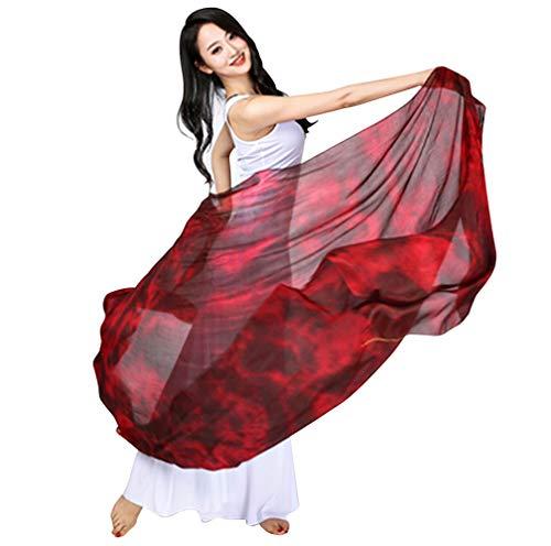 KIKIGOAL Damen Bauchtanzschleier und Handschals aus 100 % Seide, allmähliche Farben, 1,14 x 2,5 m, Rot