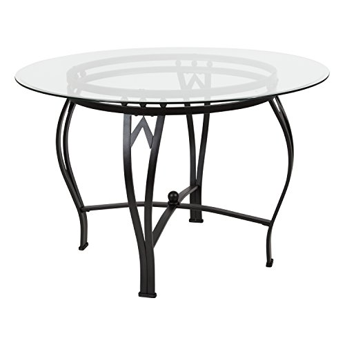 Flash Furniture Syracuse 45'' Round Glass Dining Table with Black Metal Frame