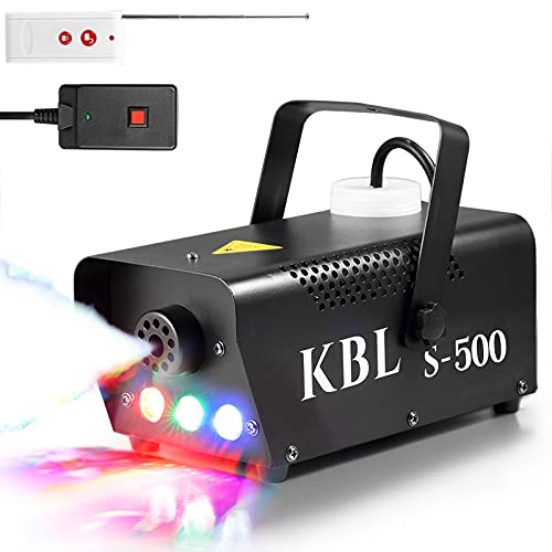 Fog Machine,KBLbfb Potable Smoke Machine with LED Lights, 500W Fog with Wireless and Wired Remote Control for Halloween…