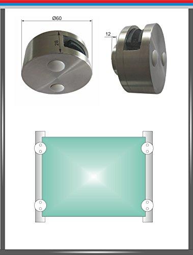 PMC glashouder roestvrij staal V2A glasklem glas klem klem beugel leuning hoekig rond, 1-seitig offen, 12,00 mm, 500