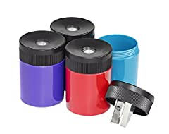 "Premium quality sharpener ensures you never have a ""dull"" moment in the office, at school, or around the house! Metal sharpener with secure screw-on lid prevents accidental opening Assorted colors adds a fun surprise to every order Blister card of 1 ..."