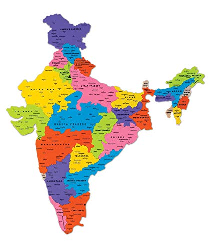Zephyr Discover India,India Map,Puzzles & Educational Toy,Learning Toy,for Boys & Girls 3 Yr+(Multicolor)