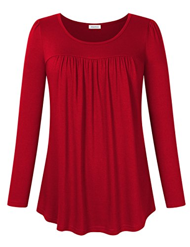 Clearlove Women's Tops and Blouses Long Sleeve Scoop Neck Plus Size Pleated Tunic T Shirt (M-3XL) (XXL, red)