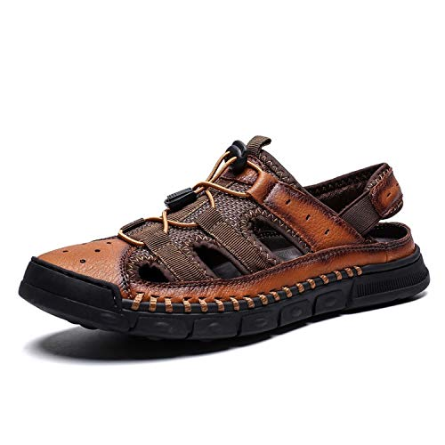 HANBINGPO Summer Business Casual Men's Sandals Leather Splice Shoes Outdoor Hand Stitching Wrapped Toe,Brown 01,10